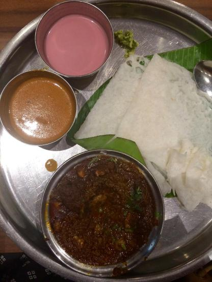 South Indian Dosa and Prawn Masala.