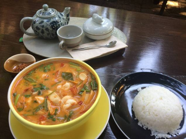 Tom Yum soup with prawns. A side of jasmine rice and some tea.