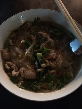 Noodle soup with chicken.
