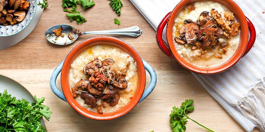 Keto Roasted Mushroom and Walnut CauliflowerGrits